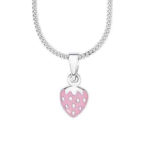 Prinzessin Lillifee Kinder-Kette mit Anhänger Mädchen Erdbeere 925 Silber rhodiniert Emaille 38 cm längenverstellbar