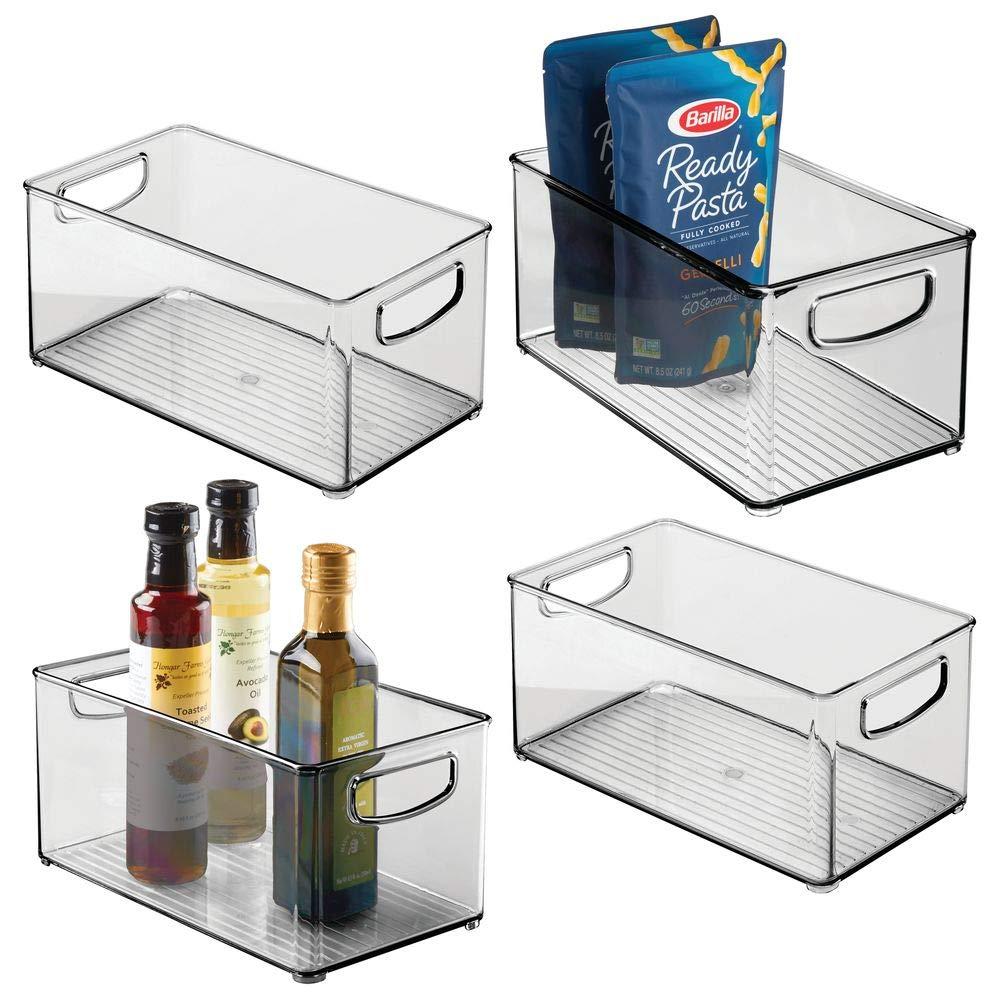 "mDesign Plastic Stackable Kitchen Pantry Cabinet, Refrigerator or Freezer Food Storage Bin Container with Handles - Organizer for Fruit, Yogurt, Snacks, Pasta - BPA Free, 10"" Long, 4 Pack - Smoke Gray"