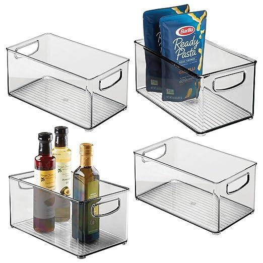 mDesign Juego de 4 cajas organizadoras con asas – Práctico ...