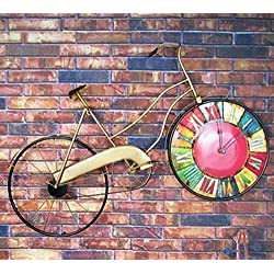 Stylish and simple/Home/Kitchen/Office/Living Room/School Clock/Easy to Read.Country retro wrought iron bicycle wall clock ornaments creative wall decoration living room bedroom decorations crafts,B