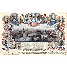 Bird's Eye View of Town and Photos of Mayors Williamsport, Pennsylvania Original Vintage Postcard