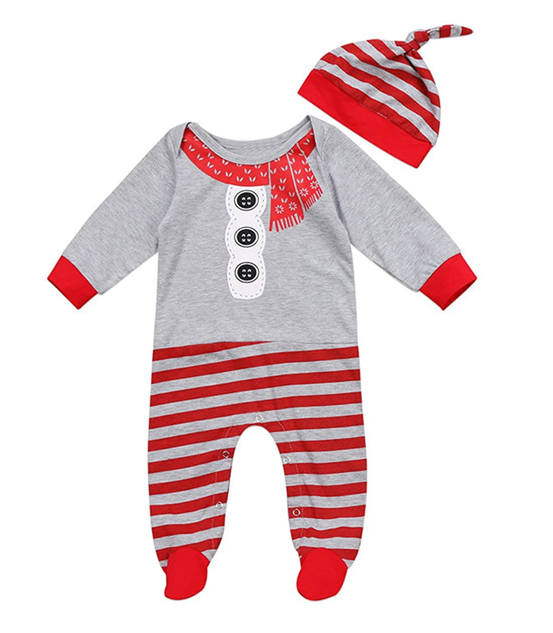Newborn Baby Boys Girls Santa Rompers Christmas Footed Overall Xmas Hat PJS