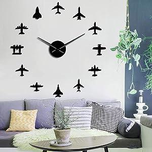 The Geeky Days Flying Plane Fighter Jet Modern Large Frameless Wall Clock DIY Acrylic Mirror Effect Sticker Airplane Silent Quartz Watch Aviator Home Decor (Black)