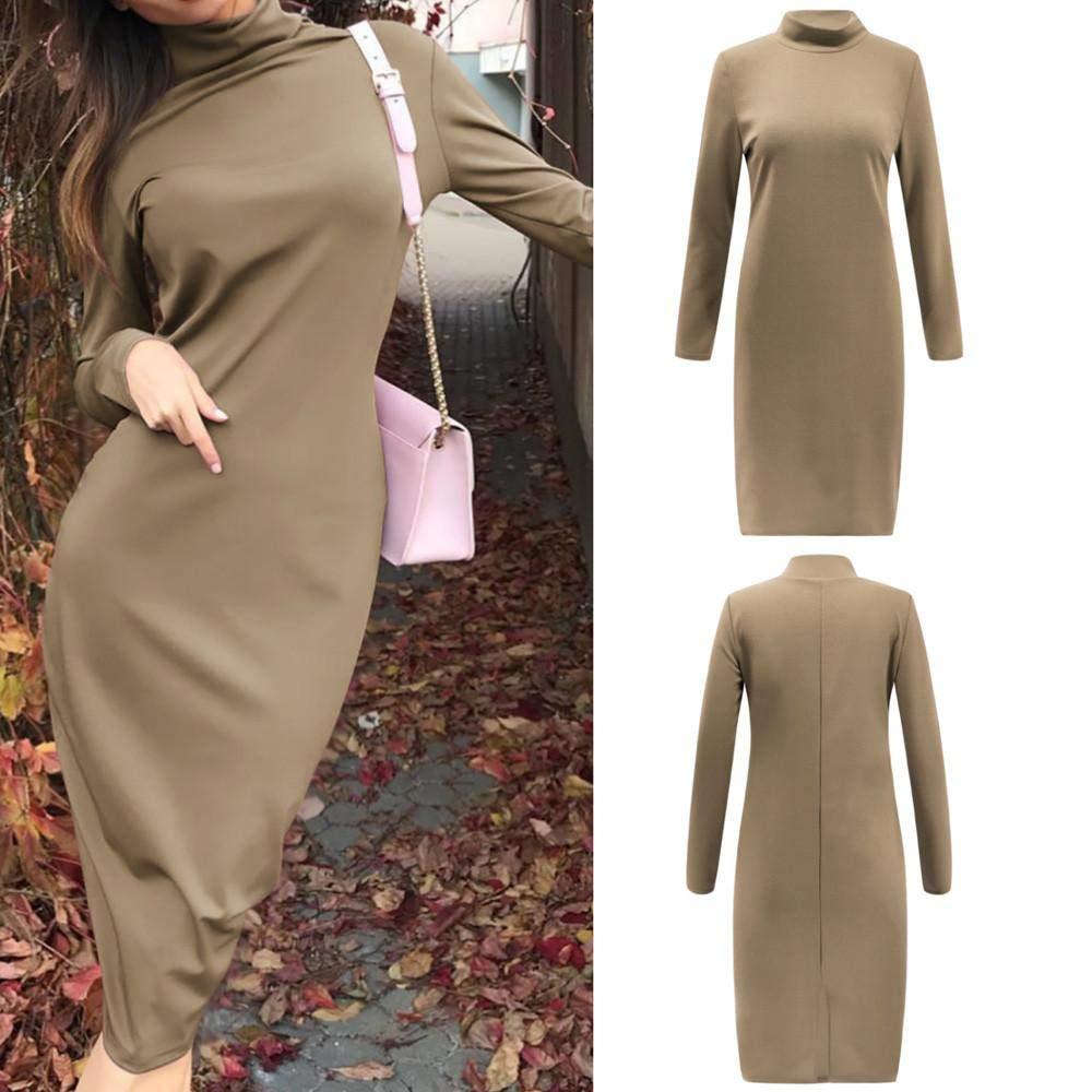 STORTO Womens Turtleneck Long Sleeve Mid Length Bodycon Bandage Pencil Midi Dress
