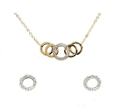 555cdf32d Buy Regalie Diamond Studded Circular Pattern Gold Plated Pendant Set with  Earrings for Party/Daily Wear for Girls and Women Online at Low Prices in  India ...