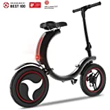 Folding Electric Bike, 450W Mini E-Bike with Max Speed Up to 20mph, Lightweight Electric Bicycle Scooter with Headlight & Dual Disc Brake for Safety