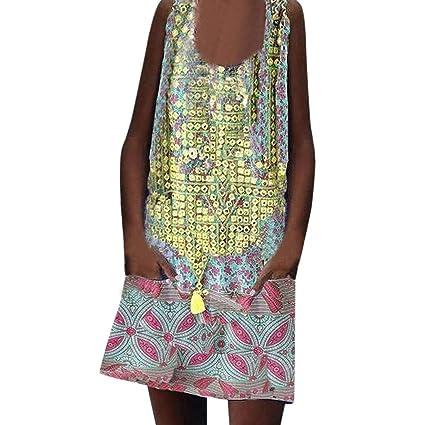 504ae3586818 Amazon.com  Women s Boho Dresses Printing Bat Short Sleeve Dress Low Cut  Beachwear Casual Loose Mini Skirts Casual O-Neck A-Line Top  Kitchen    Dining