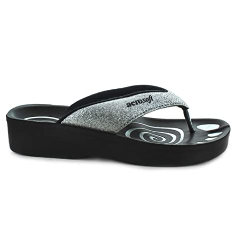 ae25934a4530b0 Amazon.com  Aerosoft Womens Gliteratti Orthotic Soft Open-Toe Comfortable  flip-Flop Sandals  Health   Personal Care