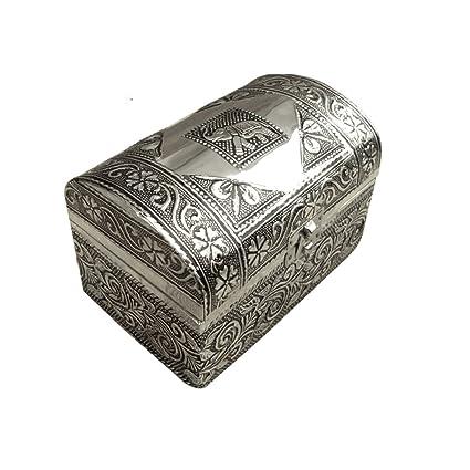 Royal Kraft Talladas a mano caja de joyas antiguas de aluminio pequeño cofre de madera MDF