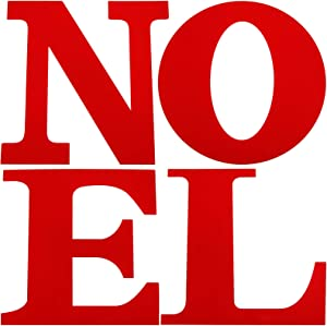 4 Pieces 12 Inch Large Wooden Noel Letters Unfinished Wood Cutout Letters for Christmas Wall Home Party DIY Crafts Decorations (Red)
