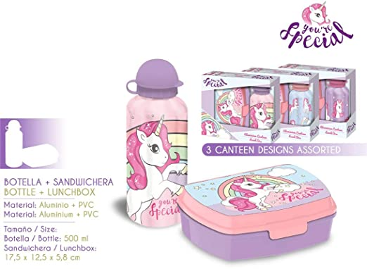 Kids Unicornio - Set Sandwichera y Cantimplora 500 ml, Multicolor, 17.5 x 12.5 x 5.8 cm