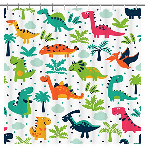 Fourth Shore Tropical Dinosaur Shower Curtain. Colorful Dinosaur Pattern with White Background. Master, Guest, Kids, Boys, or College Dorm Bathroom. Includes Curtain Hooks.