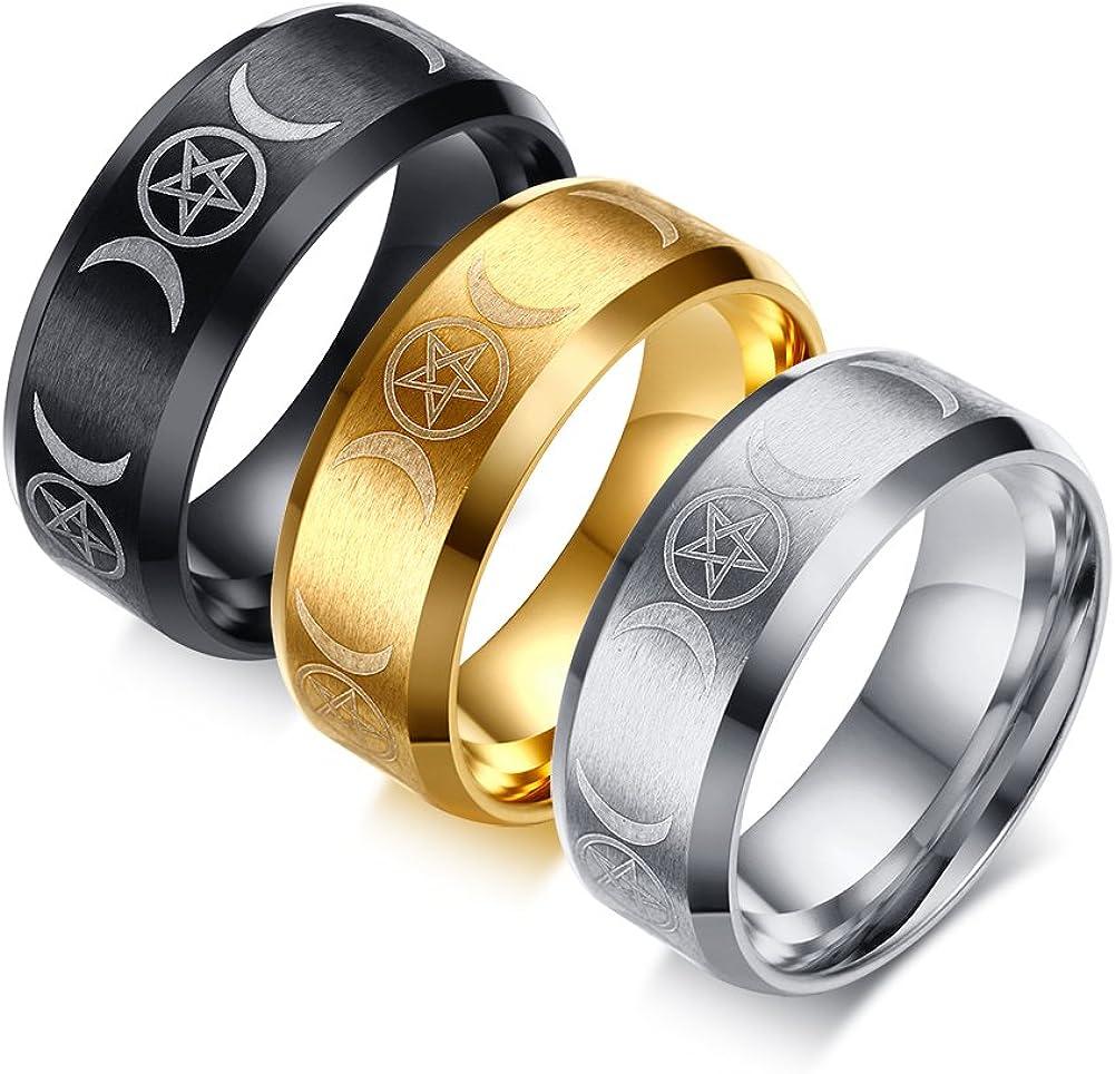 VNOX Mens Womens 8MM Stainless Steel Triple Moon Goddess Rings for Egagement Wedding Band,3 Color