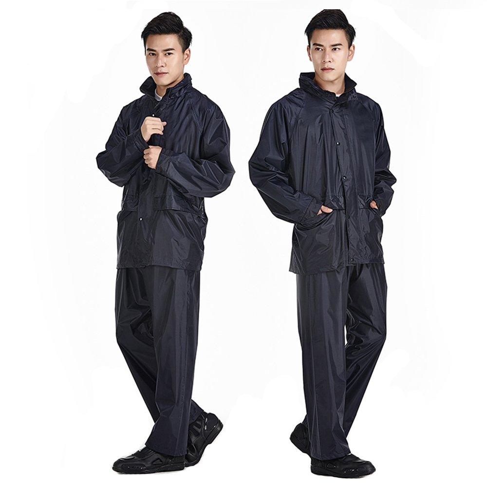 grand Wanlianer Veste de Pluie avec Pantalon pour Hommes Costume extérieur imperméable Bleu tibétain pour l'équitation extérieure d'hommes et de Femmes (Taille   L)