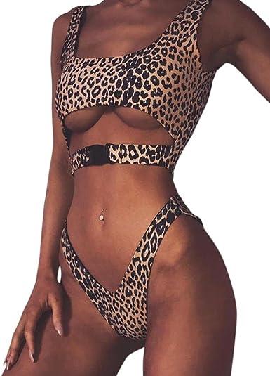 Women Leopard High Waist Buckle Bikini Push Up Bandeau Swimwear Bathing Swimsuit