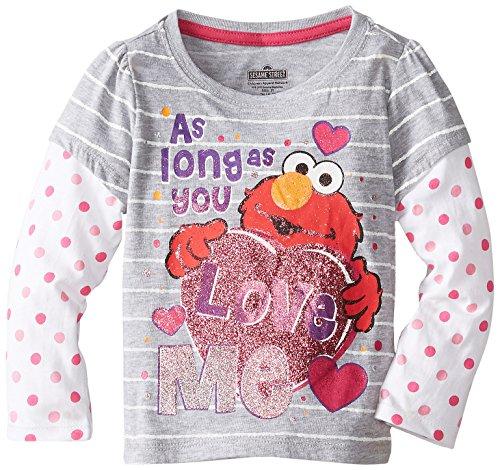Sesame St Little Girls' Elmo Love Me Long Sleeve T-Shirt, Light Grey Heather, 4T