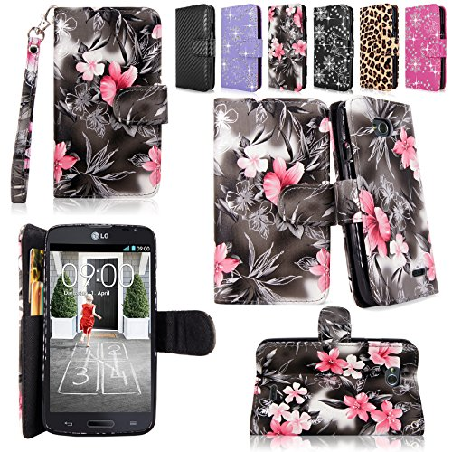 Cellularvilla Wallet Case for LG Optimus L70 (MetroPCS) MS323 / Optimus Exceed II (Verizon) VS450 / Dual D325 Pu Leather Wallet Card Flip Open Pocket Case Cover Pouch (Black Pink Flower)