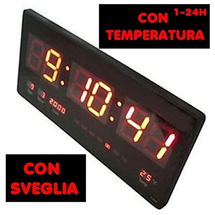 Reloj digital de LED tamaños 47 x 22 x 3 cm de pared con temperatura ideal