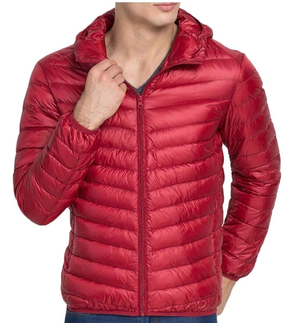 XQS Men Warm Packable Down Jacket Hood Lightweight Puffer Coat