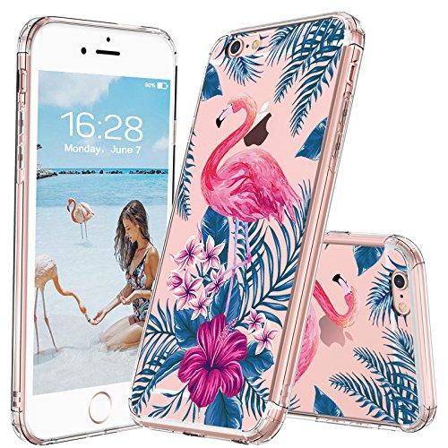 Funda iPhone 6s, Funda iPhone 6, MOSNOVO Hojas Tropicales de la Palmera Transparente Cover Diseño de Plástico Impreso con TPU Bumper Protectora de Espalda Cubierta para iPhone 6/6s (4.7) (Tropical Fo Tropical Flamingo