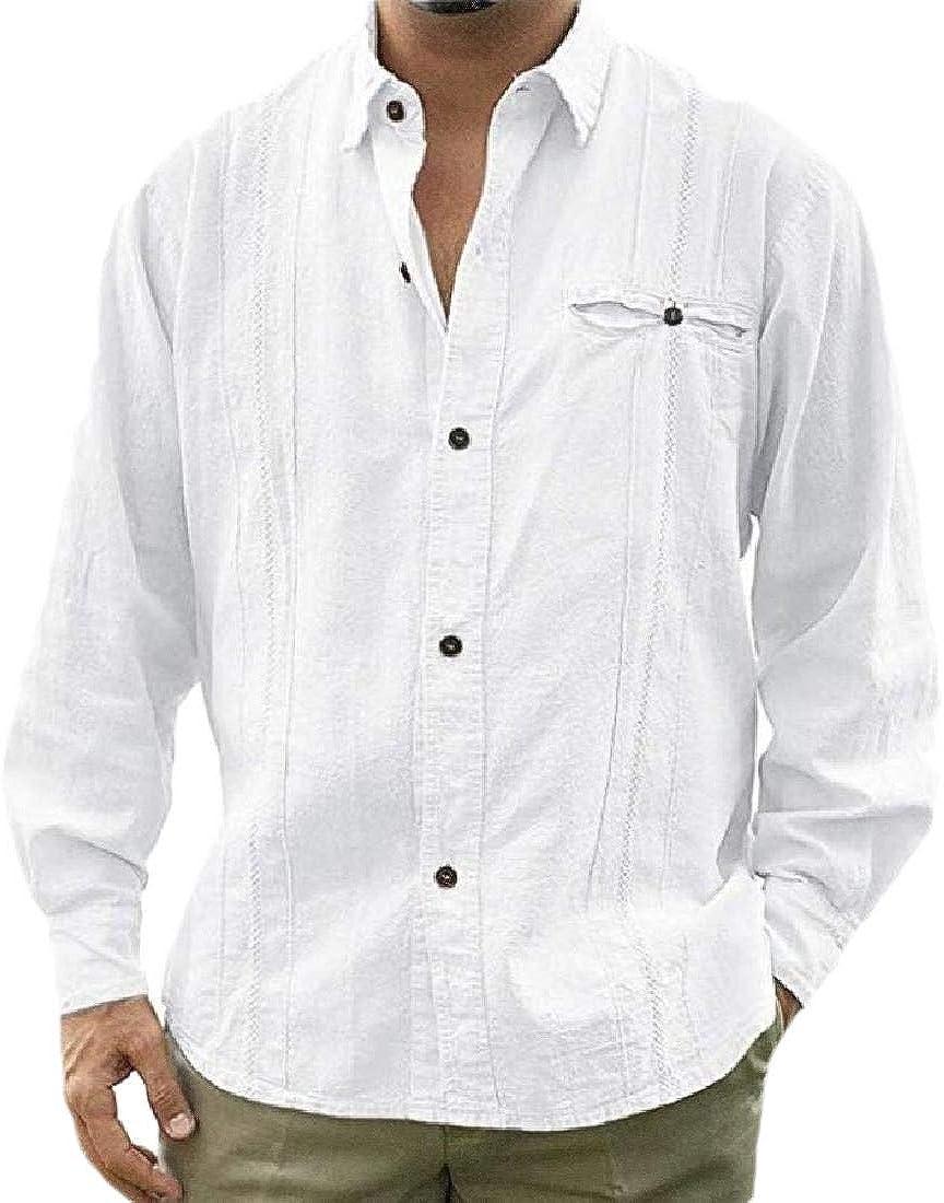 ShuangRun - Camisa de Manga Larga para Hombre de Estilo Cubano Guayabera con Botones de Lino Blanco Blanco S: Amazon.es: Ropa y accesorios