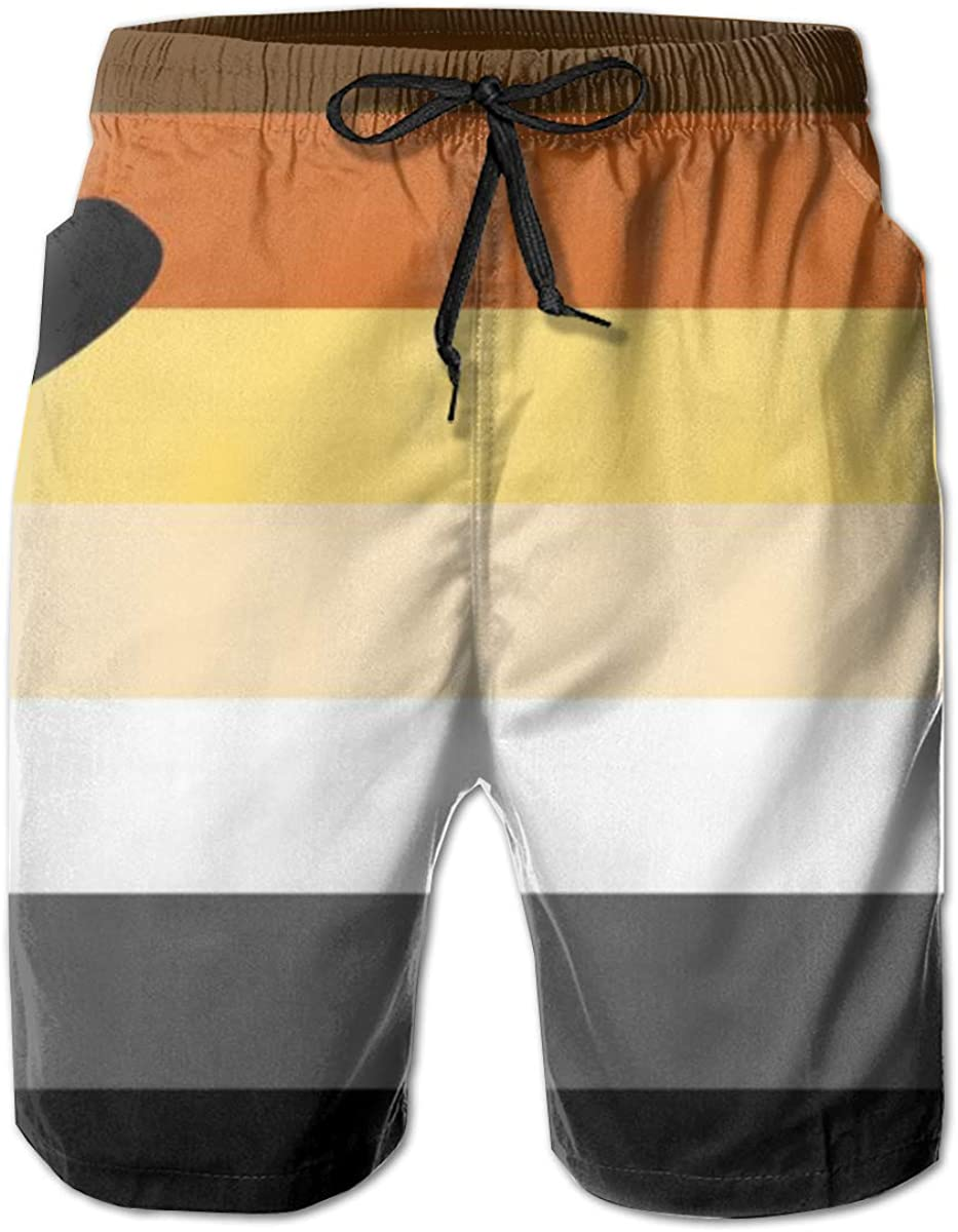 Yt92Pl@00 Mens 100/% Polyester Gay Pride Bear Flag Beachwear 3D Printed Board Shorts with Pockets