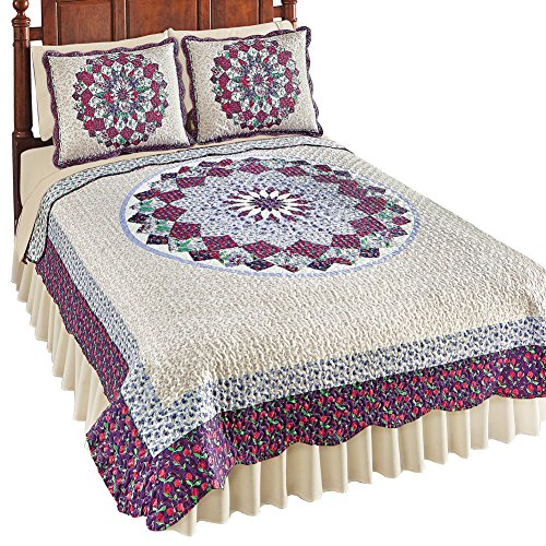 Collections Etc Patchwork Quilt with Floral Medallion Pattern & Scalloped Edges, Purple Multi, Full/Queen - Edge Patchwork