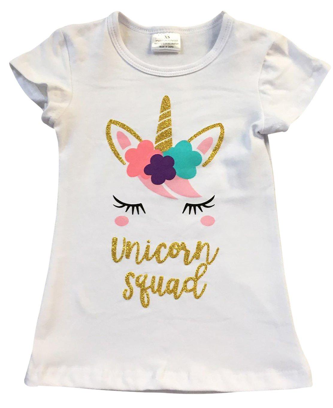 Toddler Girls Short Sleeve Glitter Unicorn Squad Cotton Summer Top T Shirt Tee White 2T XS (P201431P)
