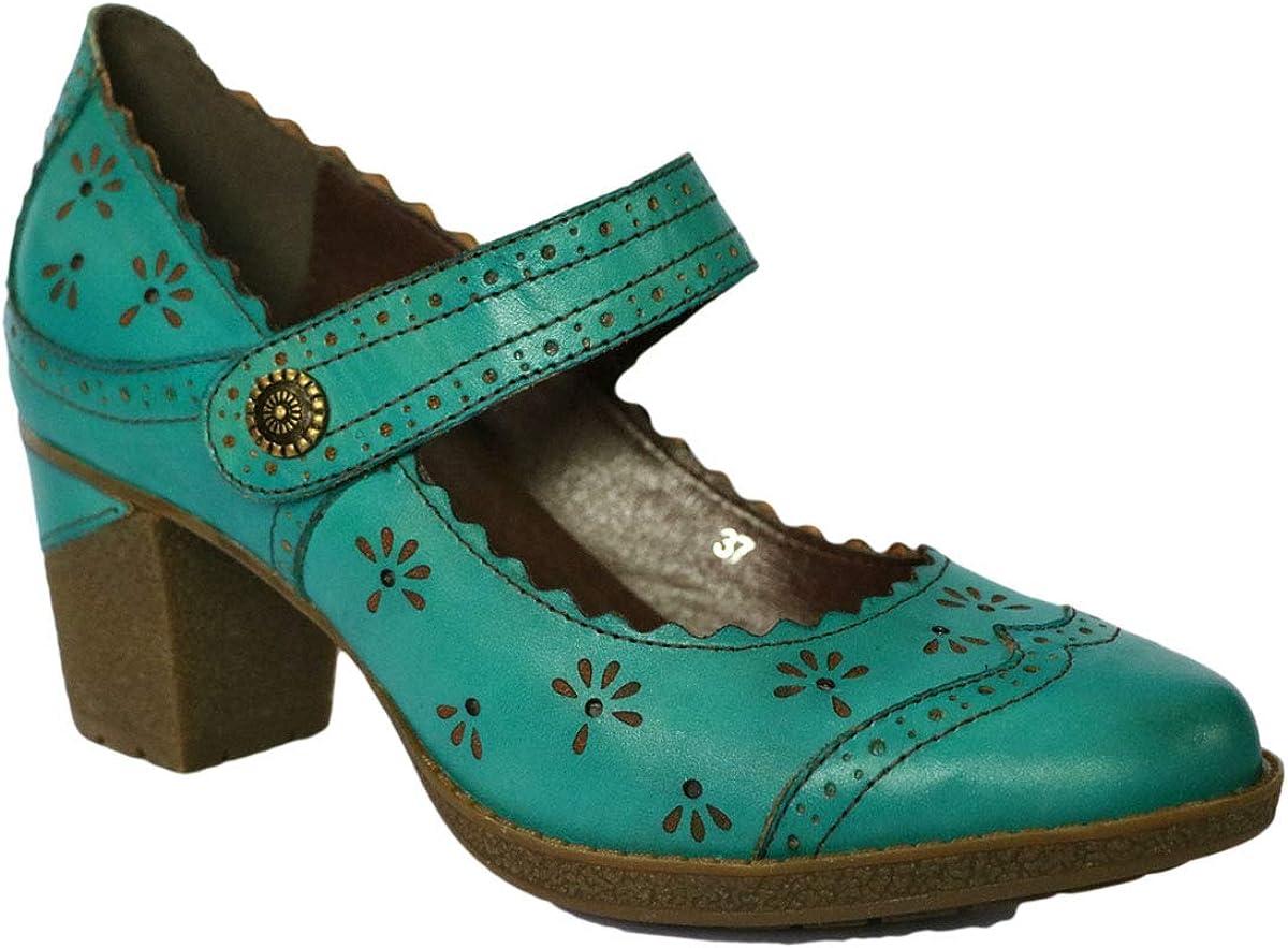 CrazycatZ Leder Mary Jane Halbschuhe Blockabsatz Bunte Schuhe Bohemian Bunte Mary Jane Halbschuhe