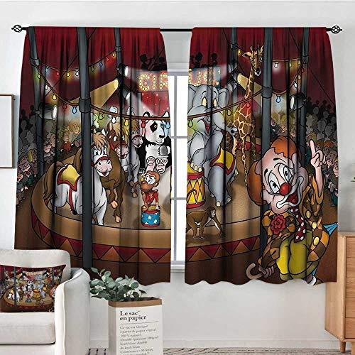 - Rod Pocket Curtains Circus,Circus Theme Show Horses Elephants Monkey Panda Cartoon Style Artistic Illustration,Multicolor,Insulating Room Darkening Blackout Drapes for Bedroom 42