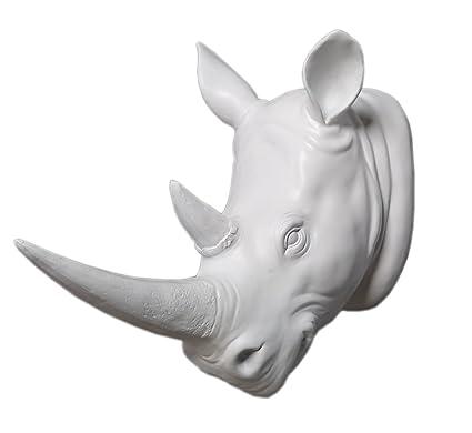 Amazon.com: YL Crafts - Resin Rhino Head Sculpture Animal Wall ...