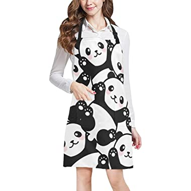 InterestPrint Cute Happy Panda Funny Animal Kitchen Apron - Mens and Womens Bib Apron - Adjustable with Pockets for Cooking Baking Gardening, Large Size