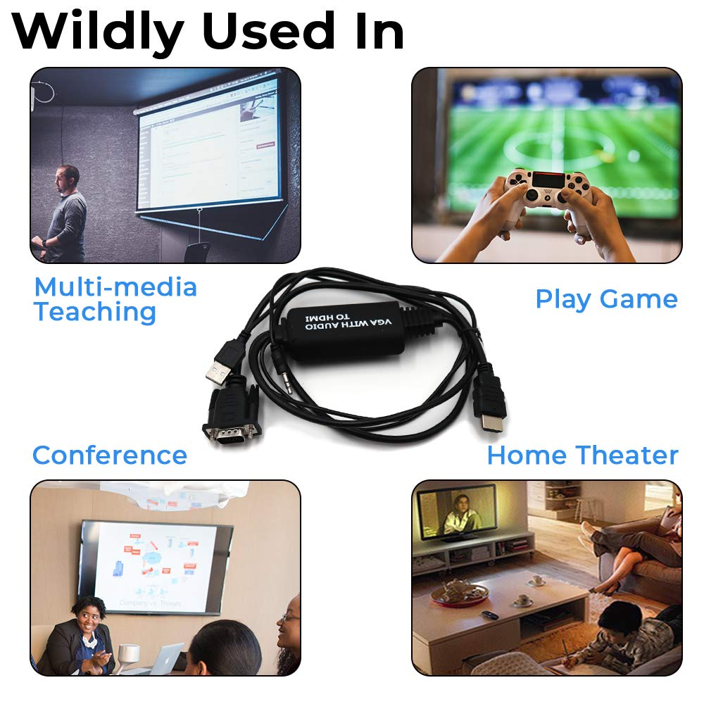 with Audio Cable and USB Cable for Old PC//Laptop to New TV//Monitor//Projector with HDMI 6 feet,1.8M VGA to HDMI Convert Cable Male to Male