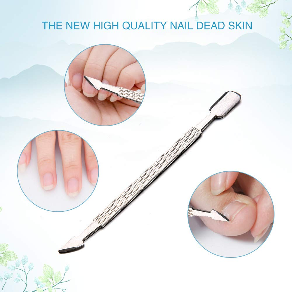 GOTD 1PC Nail Art Cuticle Push 2 Ways Stainless Steel Remover Dead Skin Manicure Tool