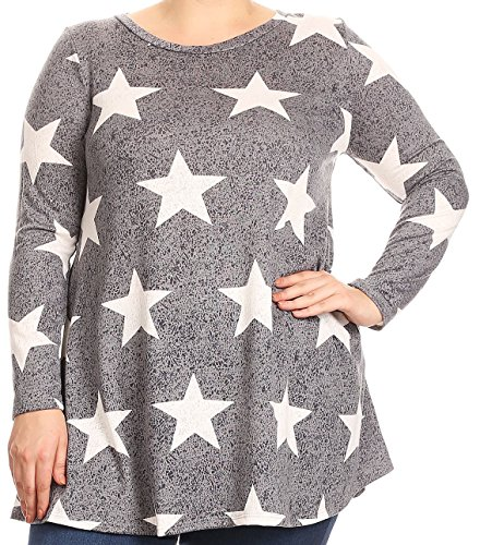 Tonic Top - BNY Women Plus Size Long Sleeve Pocket Jersey Knit Tonic Top Tee Shirt USA Grey 2XL B517 Sta