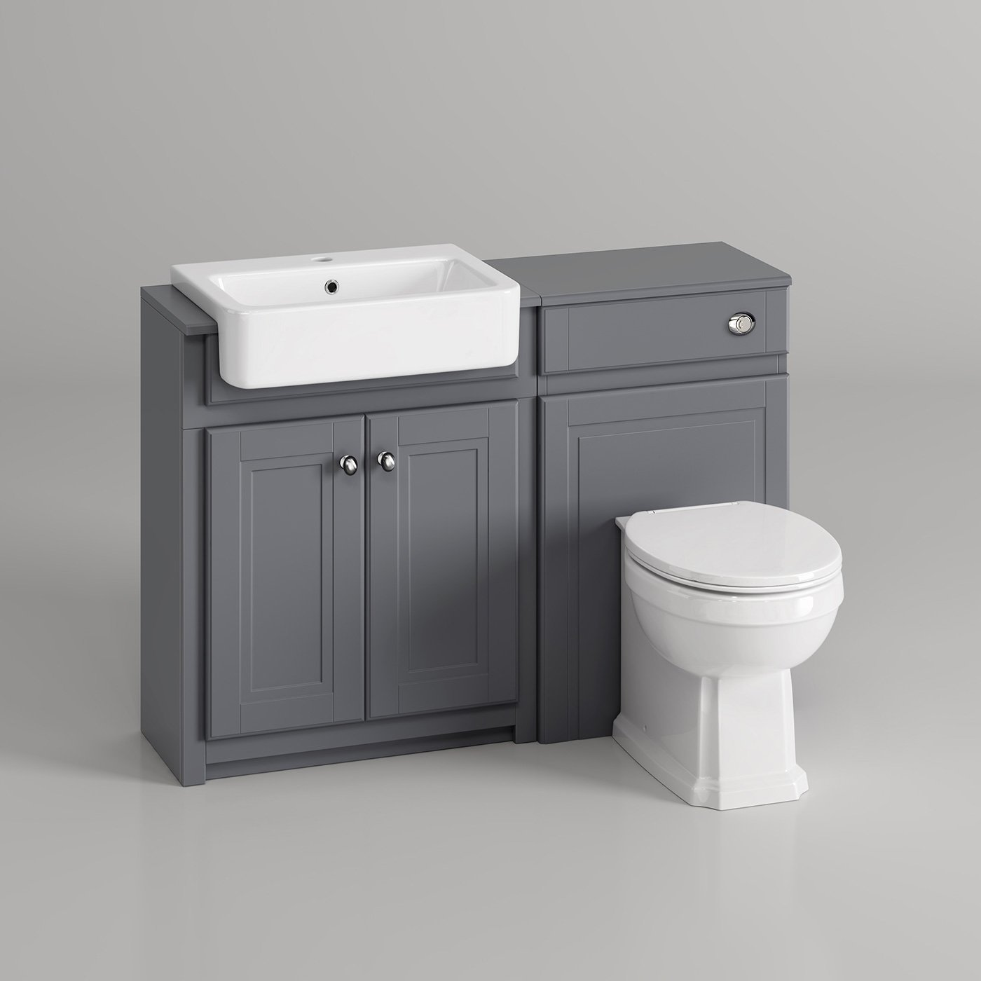 1100mm Combined Vanity Unit Toilet Basin Grey Bathroom Furniture Storage  Sink: IBathUK: Amazon.co.uk: Kitchen U0026 Home