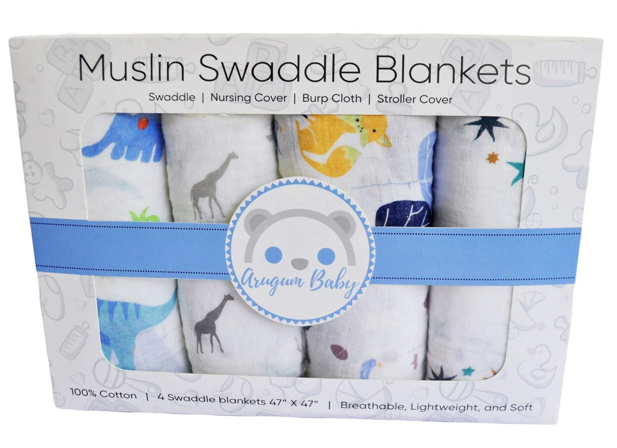 Premium 100% Organic Cotton Muslin Swaddle Baby Blankets 4 Pack Gift Set | 47' x 47' Large Oversized | Animal and Star Soft Color Theme | Multi Purpose |Baby Shower Gift | Unisex by ArugumBaby