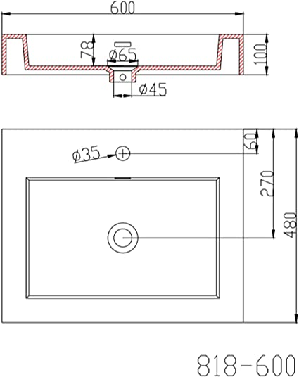 Design Lavandino 60x48x10cm Colossum818 Lavabo da Marmo fuso Lavamano Lavandino