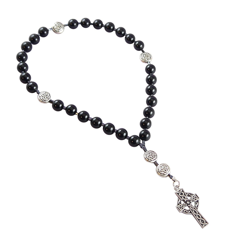 Amazon.com: Anglican Rosary Beads, Onyx, Celtic Cross, Prayer Bag ...