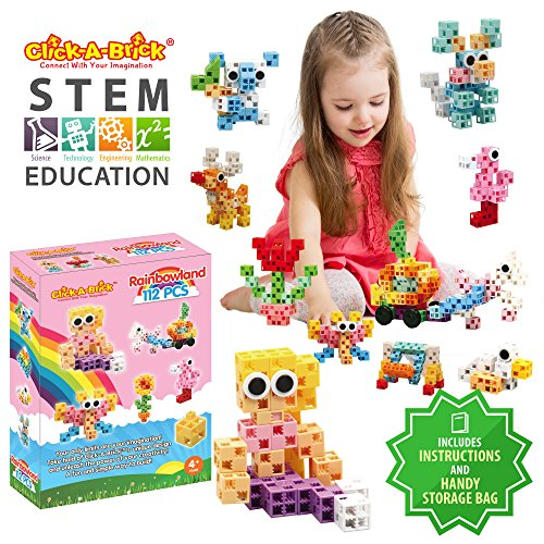 Click-A-Brick Rainbowland 112pc Building Blocks Set | Best STEM Toys for Boys & Girls Age 5 6 7 Year Old | Kids 3D Creative Puzzle Fun | Top Educational Learning Gift For Children Ages 5 - 12