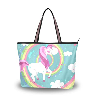 5c3207568523 Women Tote Top Handle Shoulder Bags Unicorn Rainbow Large Zip ...