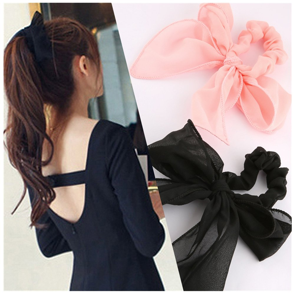 Lovef New 5pcs Cute Girls Women's Big Solid Rabbit Ear Hair Bow Tie Bands Ponytail Holder Hair Jewelry