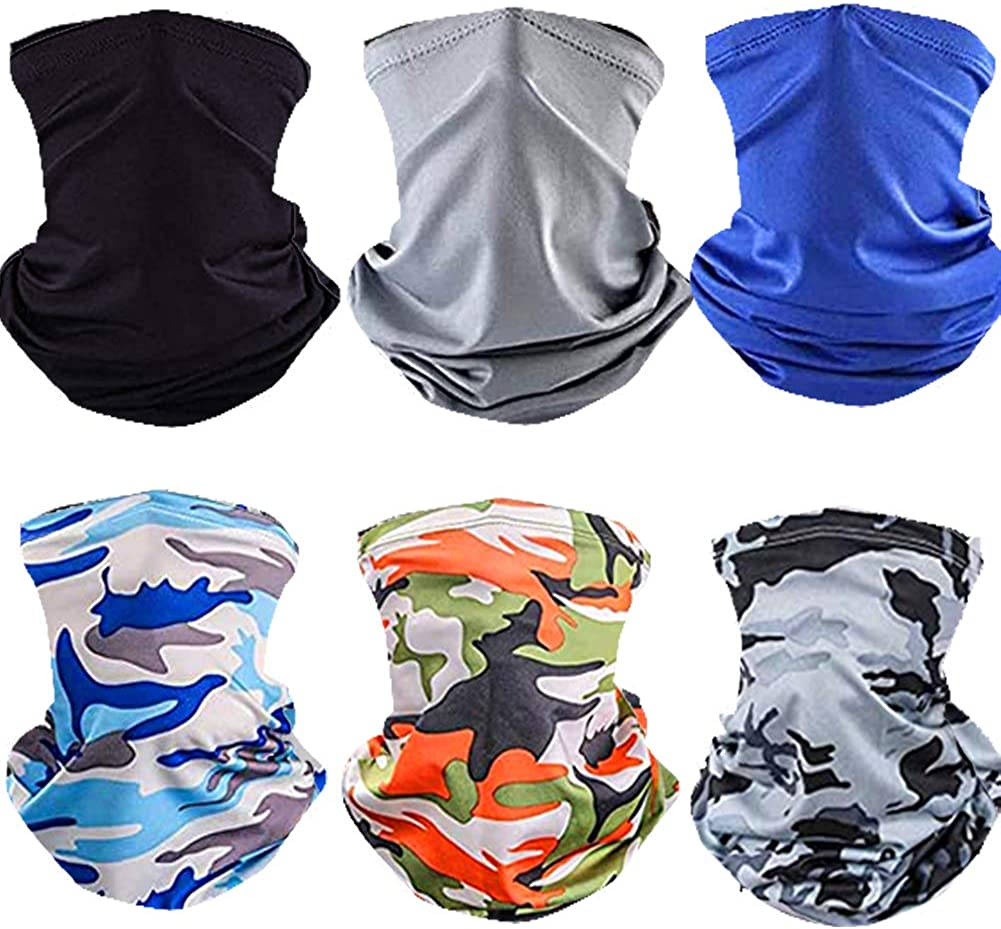 Omisy 6 Pieces Summer Face Cover UV Protection Neck Gaiter Scarf Sunscreen Breathable Bandana for Sports