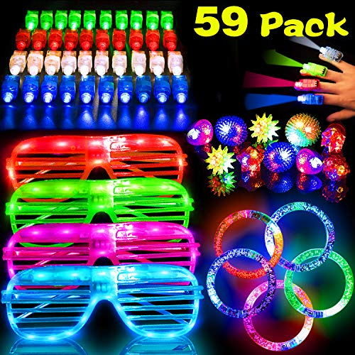 (59 Pack LED Light Up Toys Halloween Glow In The Dark Party Supplies ,Party Favors with 40 LED Finger Lights,10 LED Flashing Bumpy Rings,4 Flashing Slotted Shades Glasses and 5 light up bracelet for Kids Adult )
