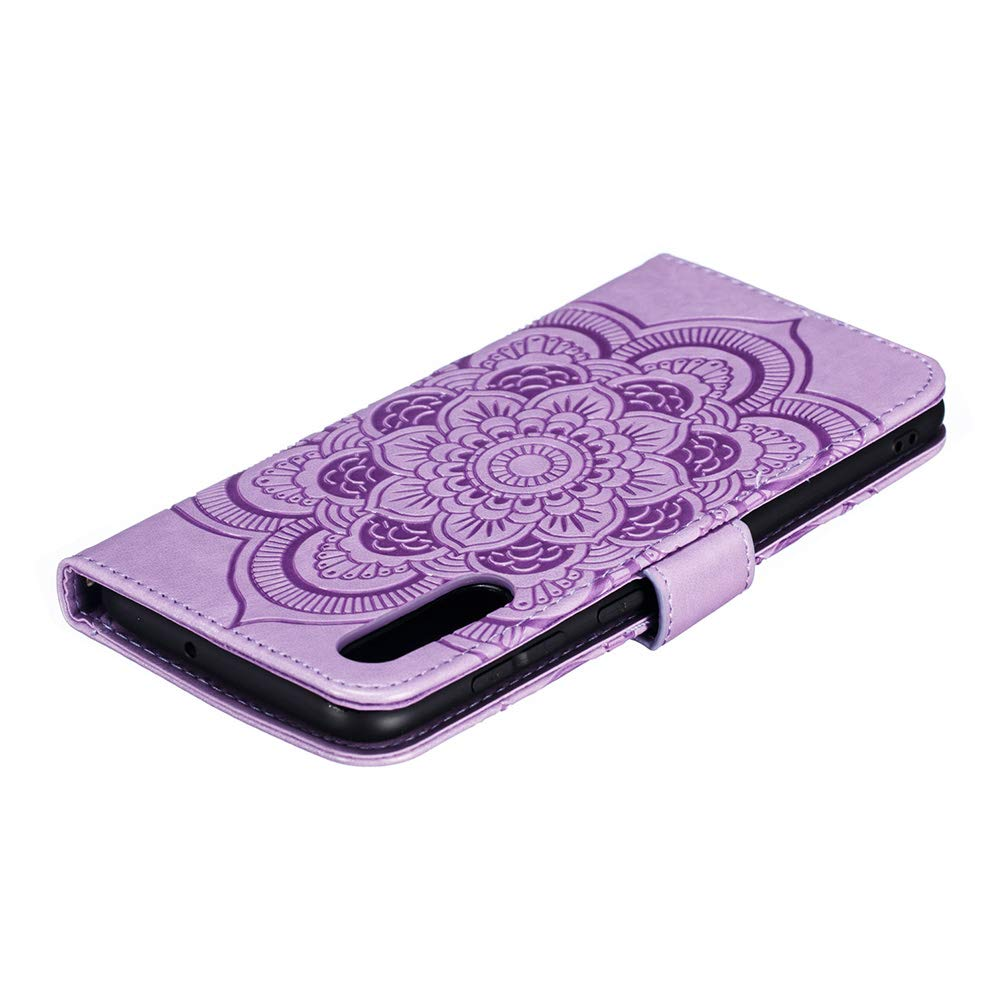Samsung Galaxy A50 Case 3D Shockproof Wallet Notebook Case Embossed Sunflower Mandala PU Leather Flip Cover with Magnetic Closure Stand Card Holder Slot Folio TPU Bumper Protective Skin Mint green