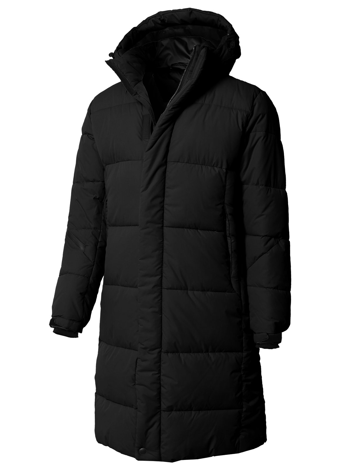 H2H Men's Parka Coat Winter Long Sections Loose Wadded Jacket Black US L/Asia XL (KMOJA0381)