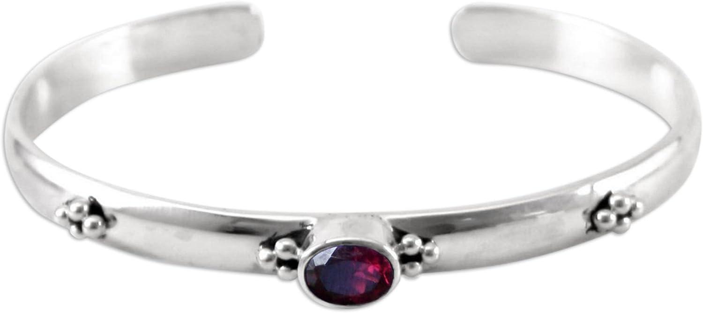 NOVICA Garnet .925 Sterling Silver Cuff Bracelet 'Eye of Beauty'