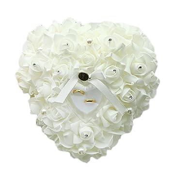 Hosaire Almohada Anillo de boda 24X22CM forma corazón Regalo Anillo Cojín Almohada Romántica Rosa Alianza Anillo