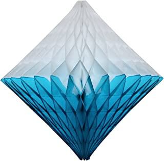 product image for Large 12 Inch Hanging Honeycomb Diamond Decoration, Set of 3 (Turquoise/White)