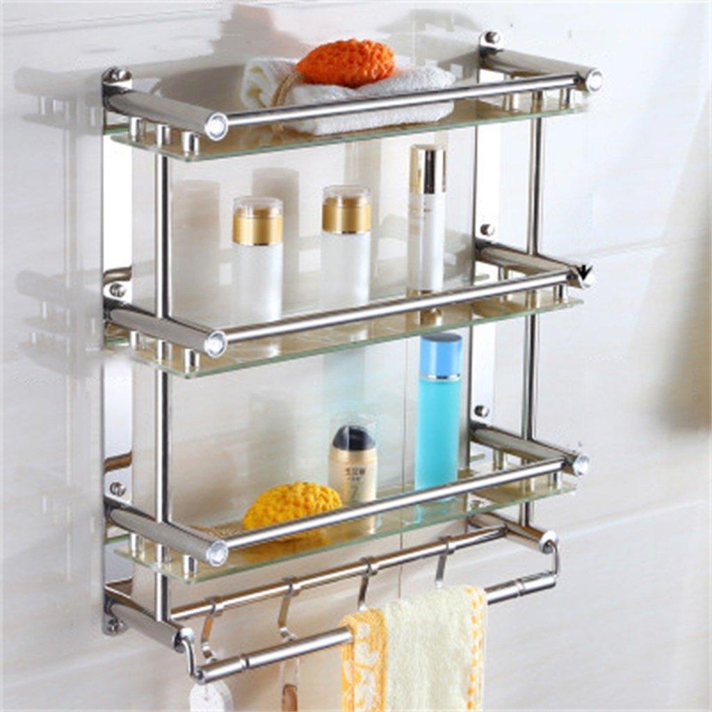 ALUPバスルームタオルラックバスルーム棚ステンレス鋼のガラスの格子のハードウェアバスルームのペンダント壁掛け (サイズ さいず : 40*54cm) B07D59J47N 40*54cm 40*54cm